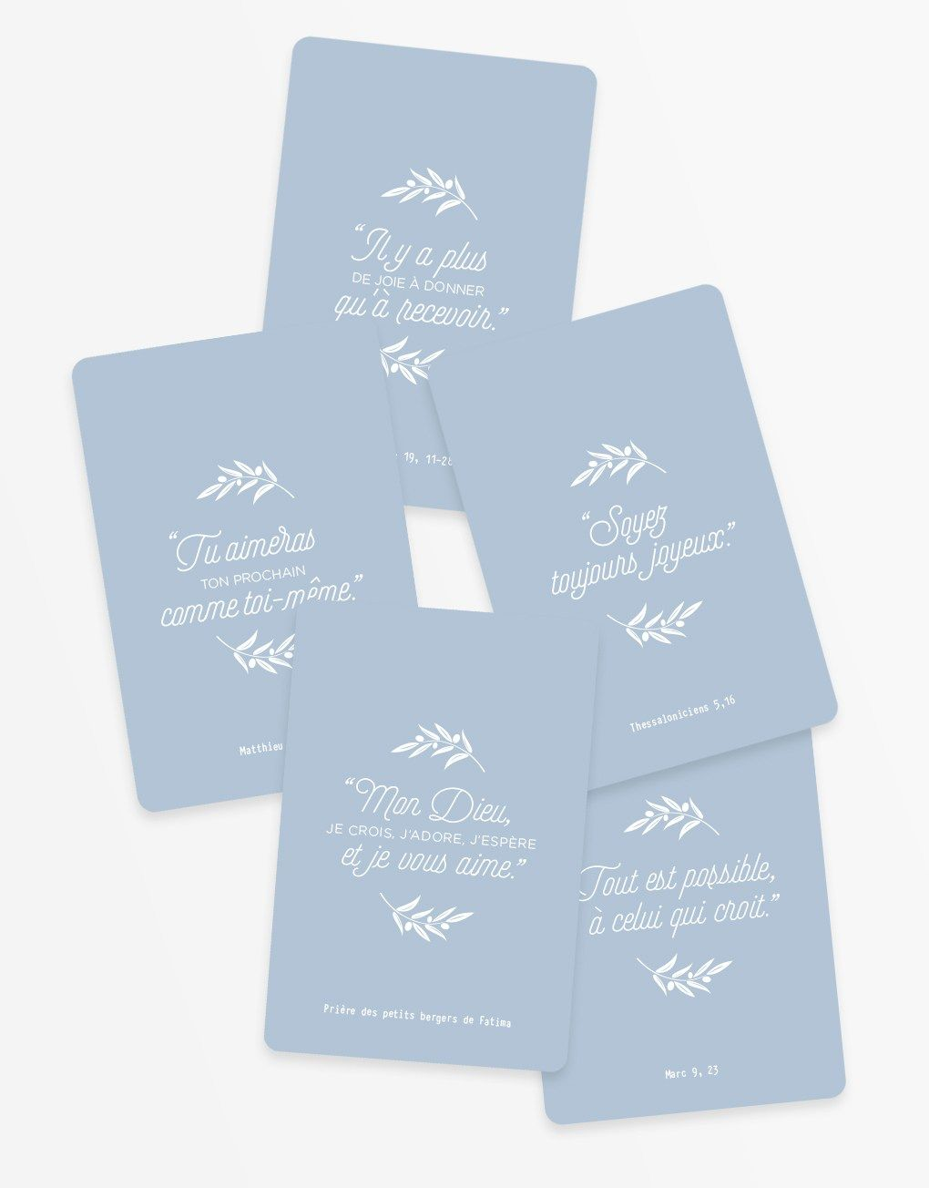 Lot De 5 Petites Cartes Citations C Catho Retro Bleu Carte De