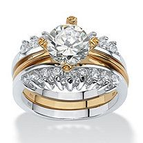 2 piece 286 tcw round cubic zirconia bridal ring set in sterling silver with a golden - 2 Piece Wedding Rings