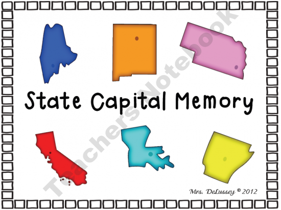 US State Capital Memory Matching Game - 3 Versions product from Mrs-_Ds_Corner on TeachersNotebook.com