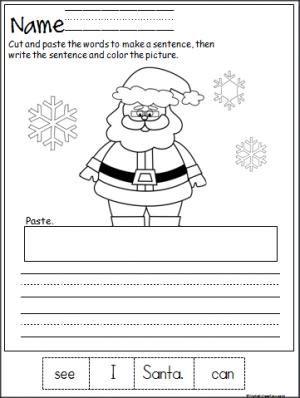 Free Santa cut, paste, and write the sentence printable ...