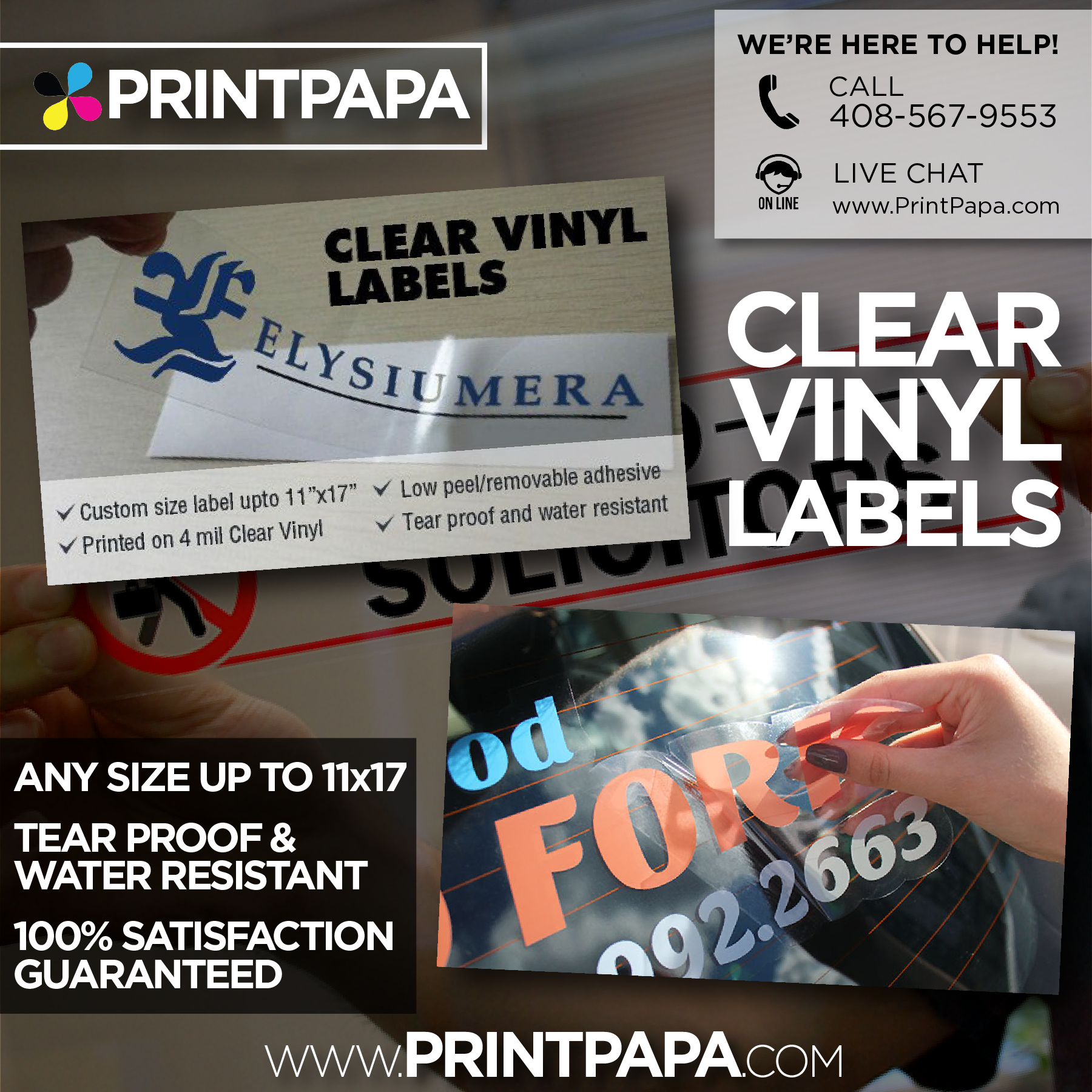 Promote Your Business Window Signage Or Next Big Event With Printpapa S Clear Vinyl Labels Adhesive Can Be On Front Or Back Vinyl Labels Clear Vinyl Vinyl
