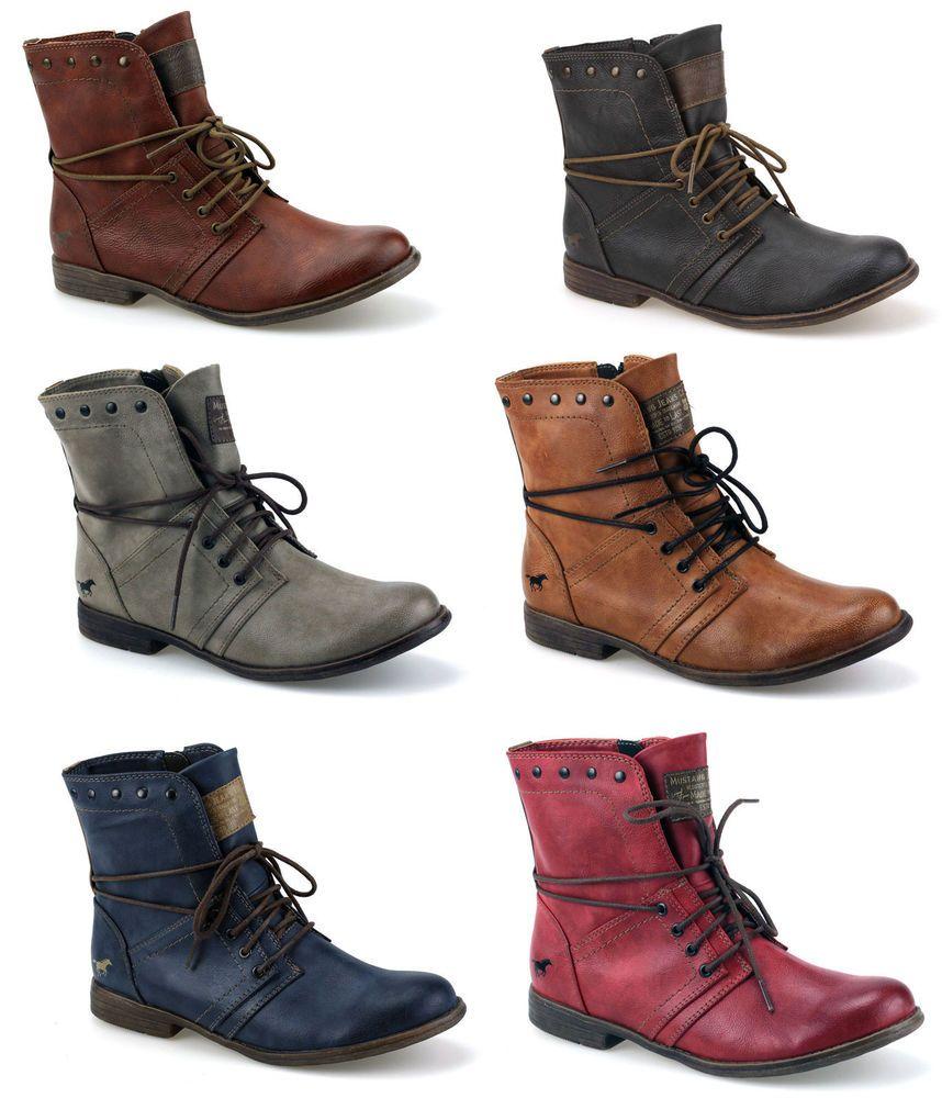 Mustang Stiefeletten Boots Schnür Booty Damen Schuhe Neu 1134602 | eBay