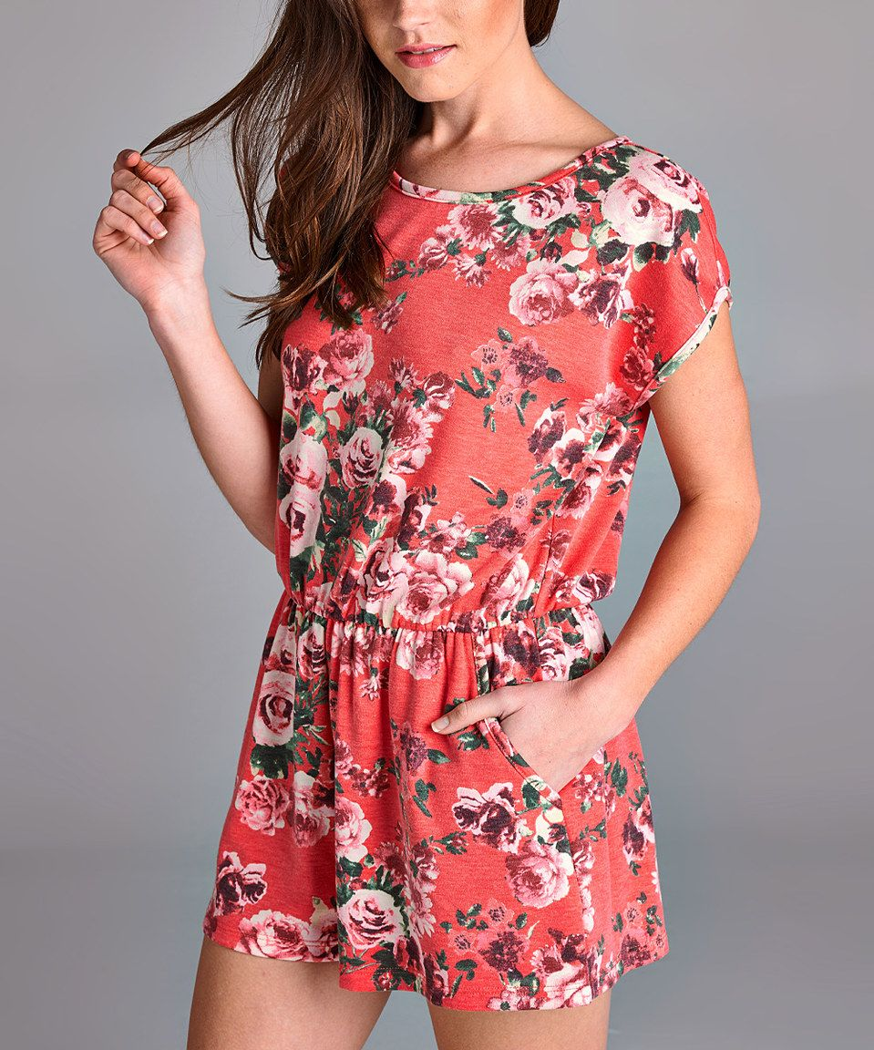This Love, Kuza Peach Floral Keyhole Romper by Love, Kuza is perfect! #zulilyfinds