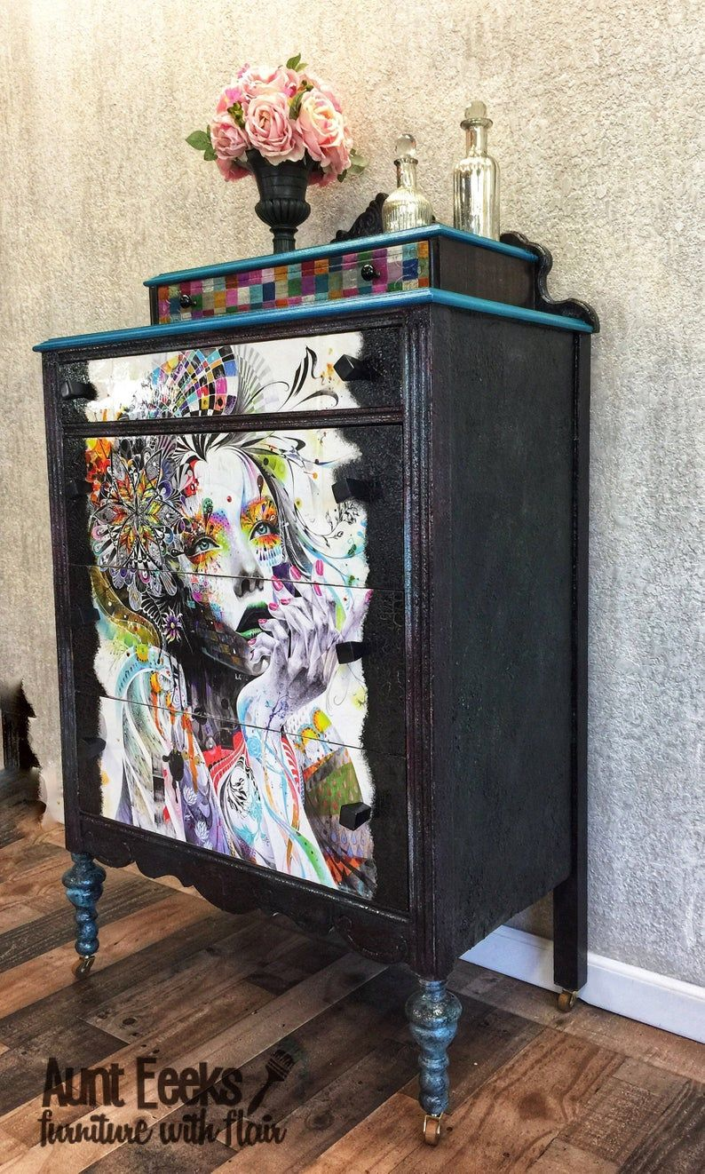 Sold Hand Painted Antique Chest Of Drawers Dresser Antique Chest Funky Furniture Shabby Chic Furniture