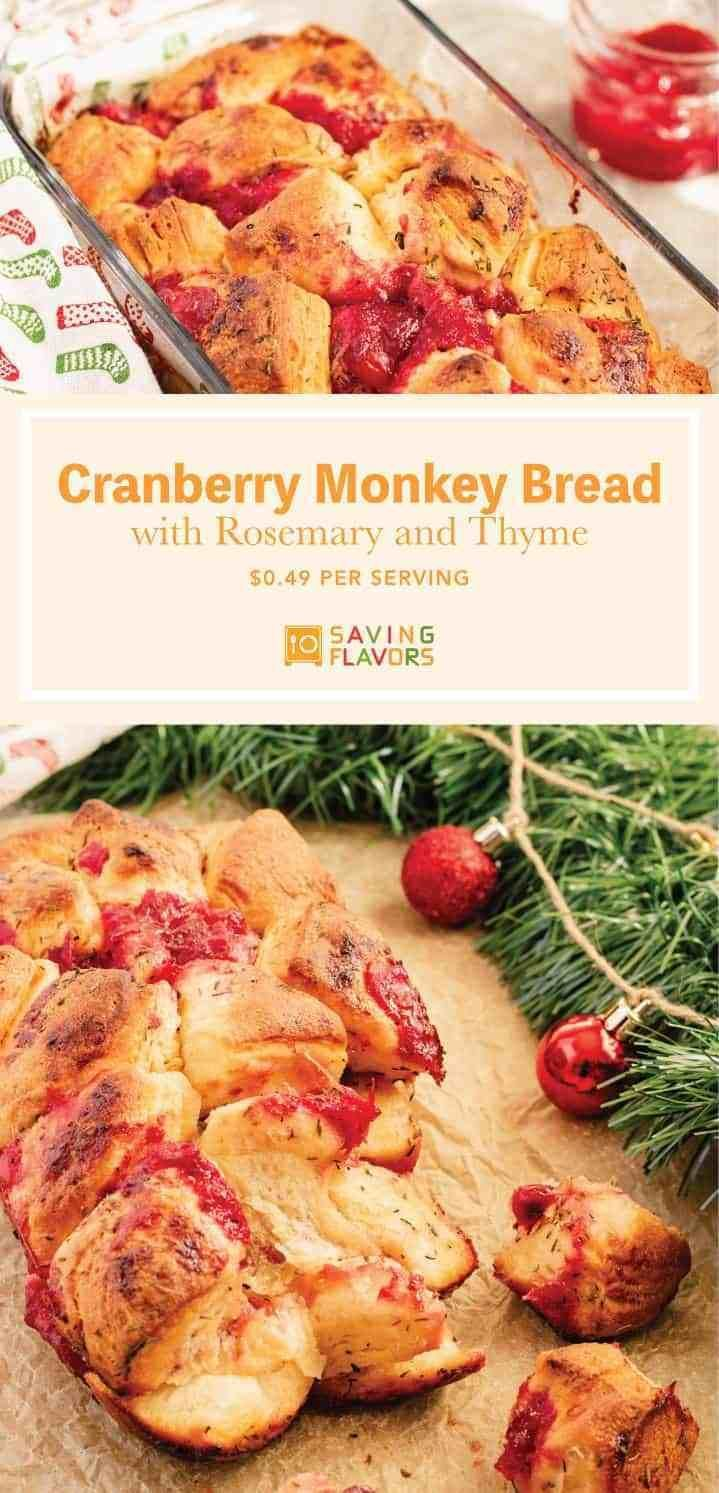 Cranberry Monkey Bread with Rosemary and Thyme | Saving Flavors