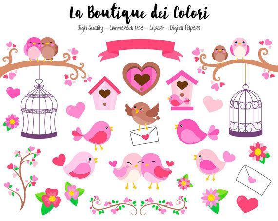 Pink Valentine's Day Birds Clipart, Cute Digital Graphics