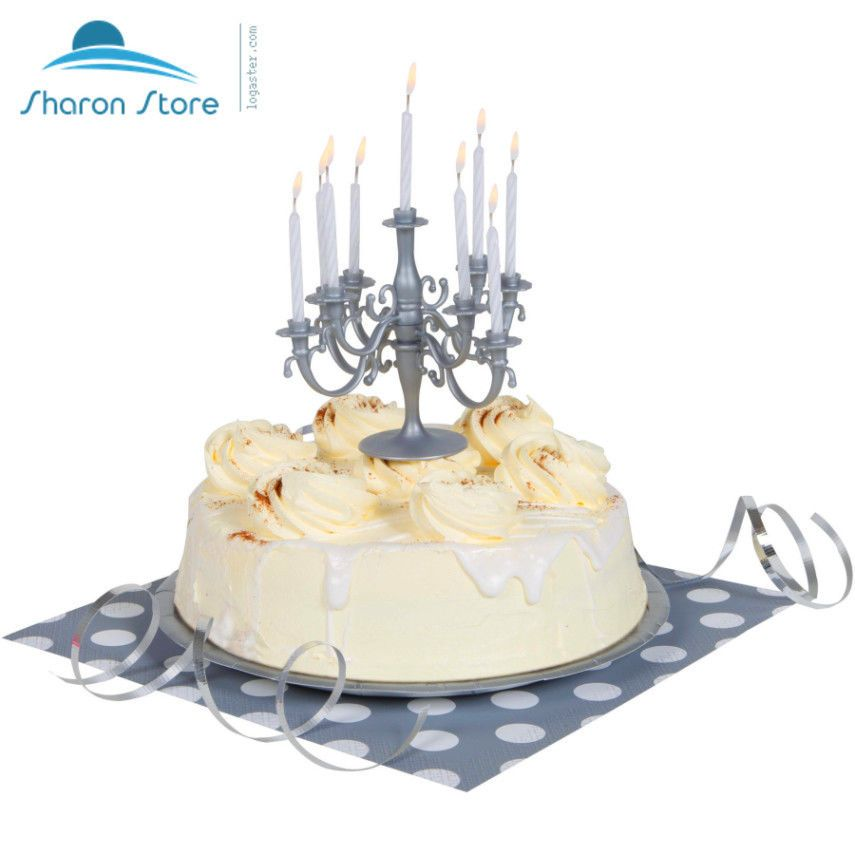 Silver Candelabra Cake Topper Birthday Candle Set Unique 71155