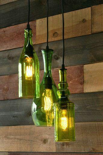 Lámpara Colgante Reciclando Botellas Decoração Bar Lustres Luminarias Led