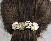 Steampunk French Barrette 80mm Steampunk Clocks Sterling Silver Copper Brass Ox