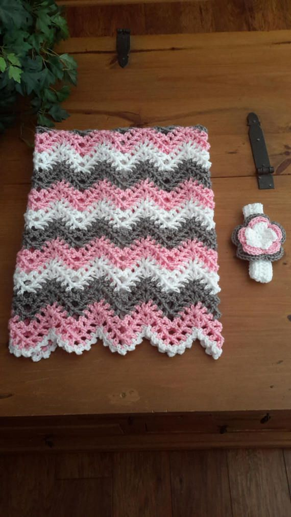 Baby Girl Chevron Ripple Baby Crochet Blanket Afghan Crochet