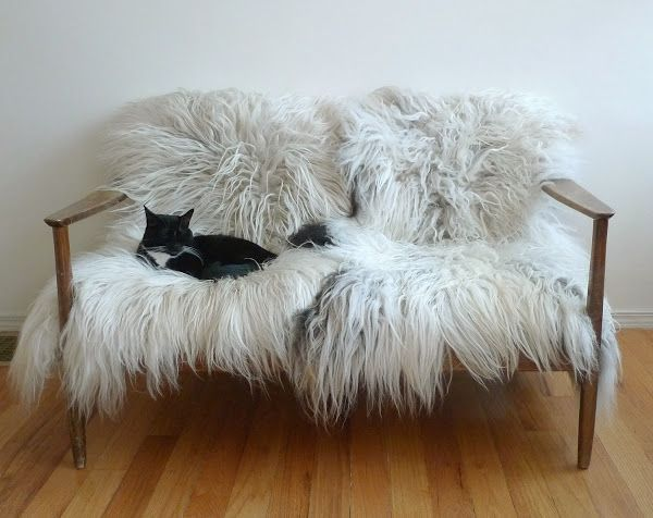 grey fur rug padded bench closet design ideas | wood bench with sheepskin rug - Google Search | Home decor ...