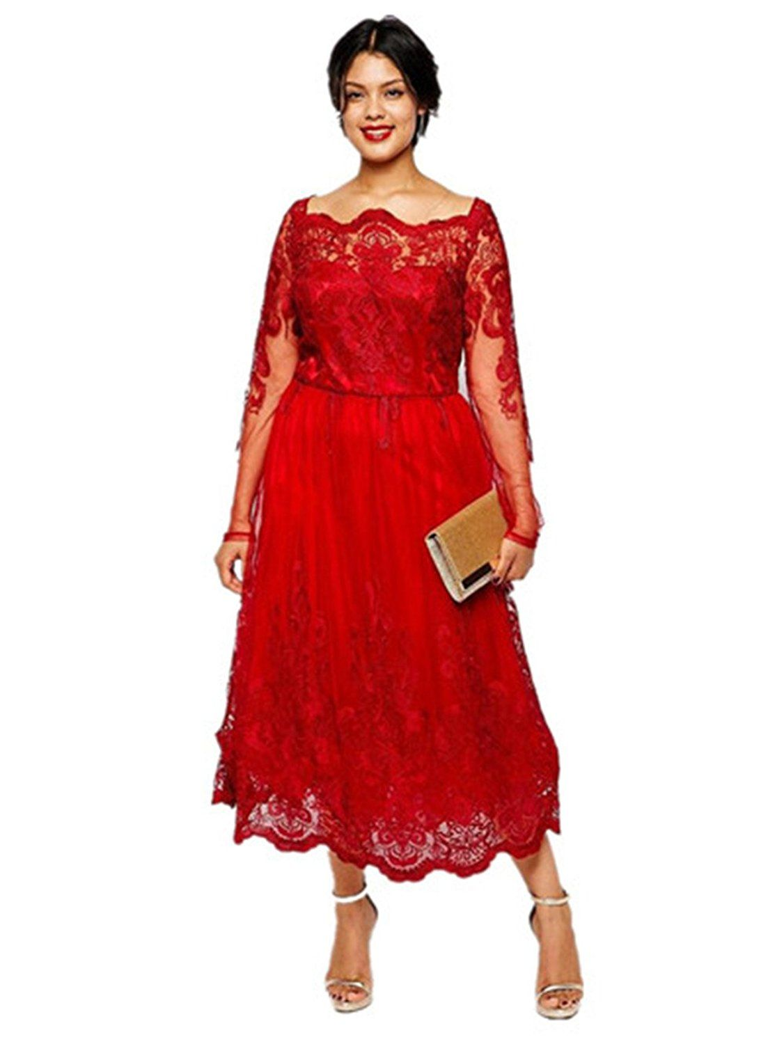 Fenghuavip plus size long sleeves lace red tulle women evening
