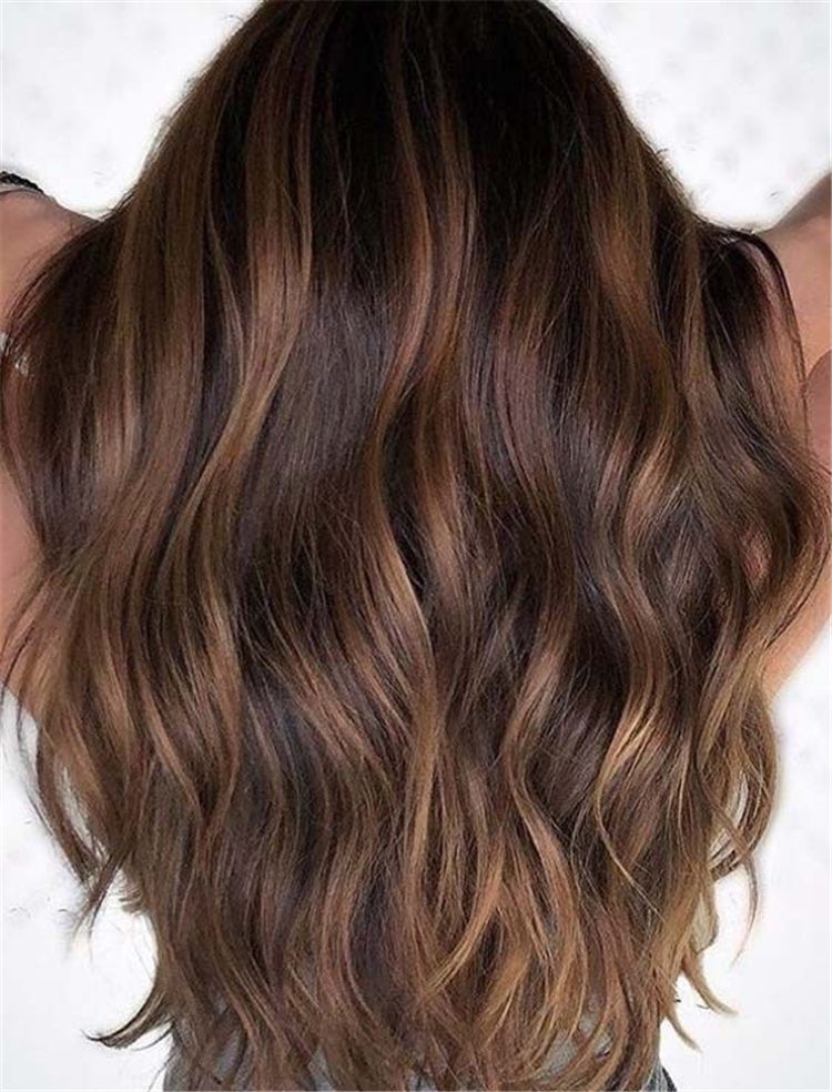 Brunette Brown Hair With Caramel Highlights Ideas For Winter Caramel Highlight Caramel Highlight Caramel Brown Hair Color Brunette Hair Color Long Hair Color