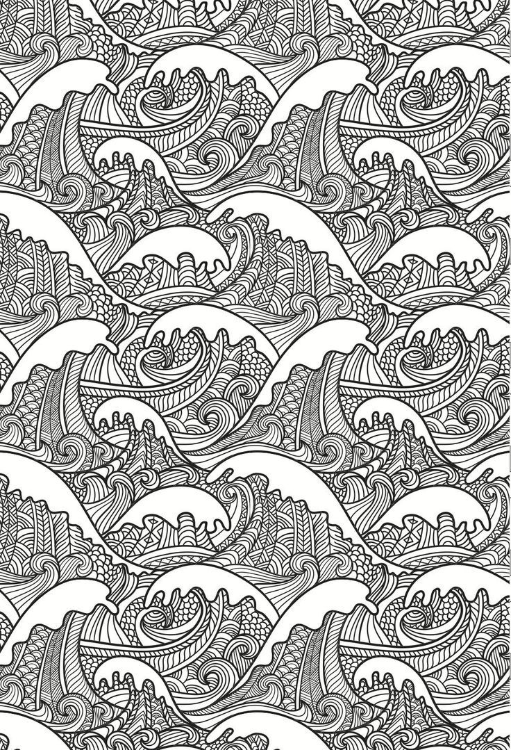 best adult coloring books we really love these beautiful and detailed waves - Detailed Coloring Books