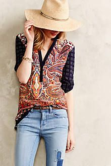 Splitneck Ikat Tee - anthropologie.com
