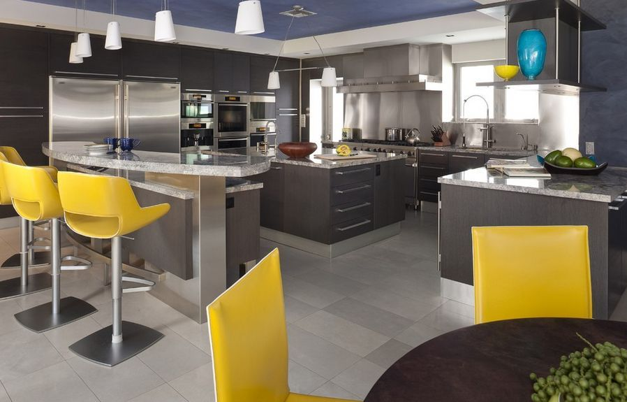 Yellow Chairs Gray Kitchen Cupboards In 2019 Grey Kitchen