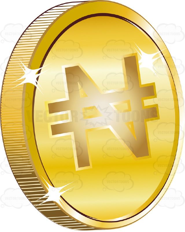 Nigeria Naira Sign On Gold Coin Currency Vector Illustrations