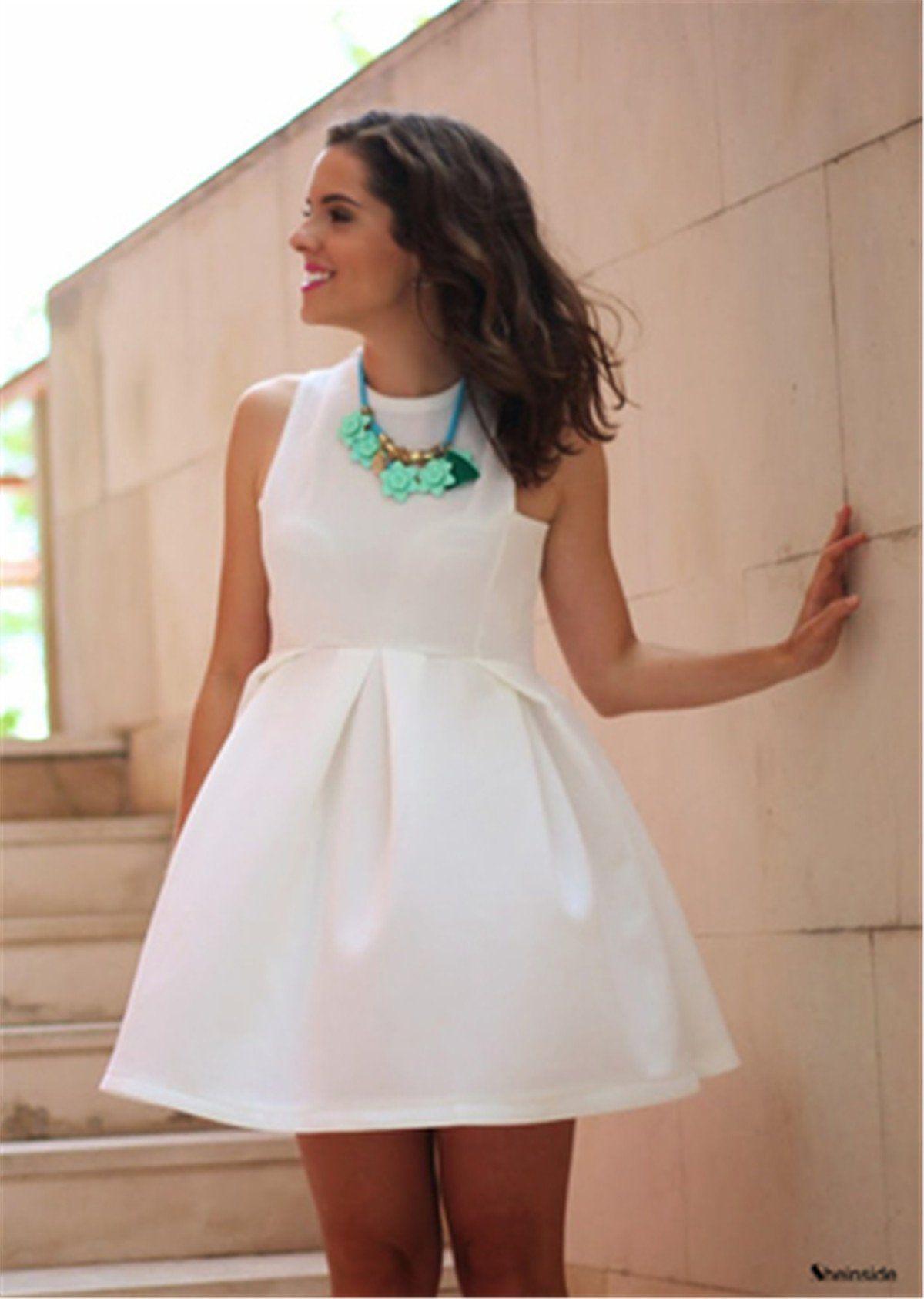 fe348ffee4564b Sheinside Women s White Round Neck Sleeveless Flare Pleated Dress at Amazon  Women s Clothing store