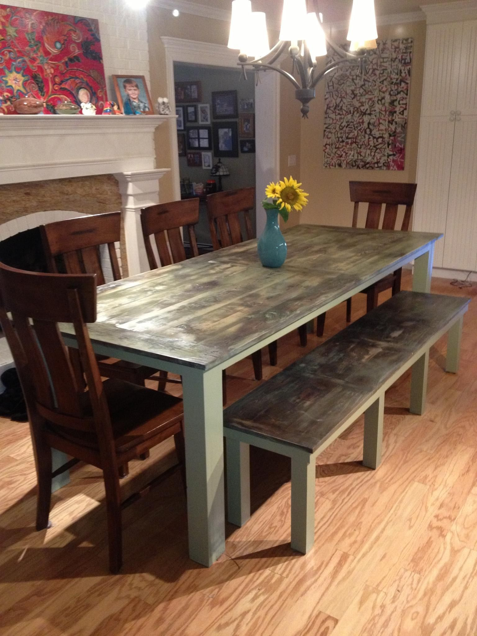 dining room table plus bench green weathered we used a blow torch to