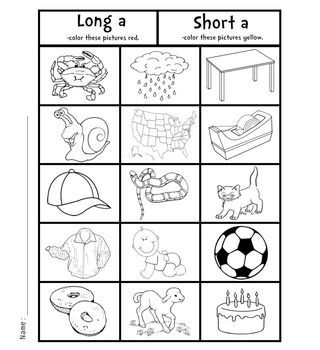 Coloring Long And Short Vowels Packet 1 Short Vowels Short Vowel Worksheets Reading Graphic Organizers