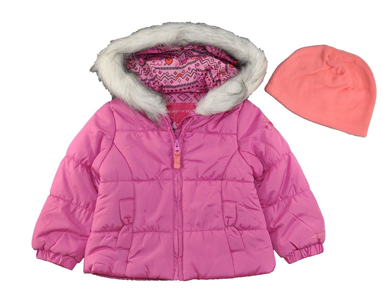 d8435b1fa London Fog Baby Girls and Little Girls Sweet Bow Puffer Jacket Coat ...