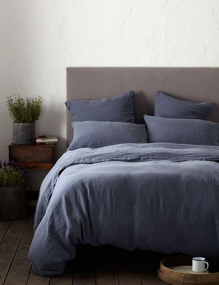 Denim Blue 100 Linen Duvet Cover