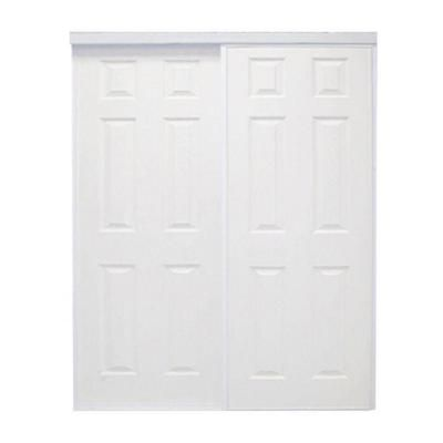 199 closet doors 72 in x 96 in raised 6 panel colonial painted steel white interior bypass. Black Bedroom Furniture Sets. Home Design Ideas