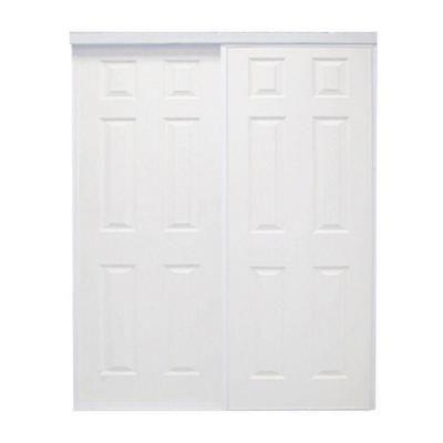 72 In X 96 In Colonial White Prefinished Hardboard Panels Steel Framed Interior Sliding Door Col 7296wh2r The Home Depot Sliding Doors Interior White Paneling Sliding Doors