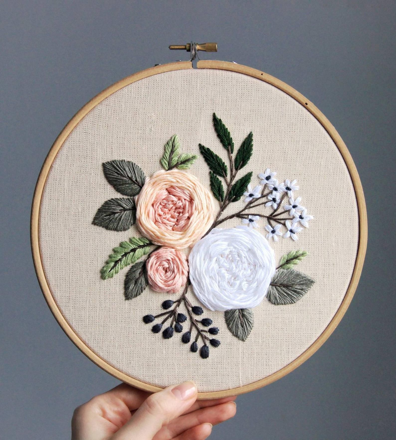 Pdf pattern video tutorial. Garden roses/ digital tutorial   Etsy in 2020   Flower embroidery ...