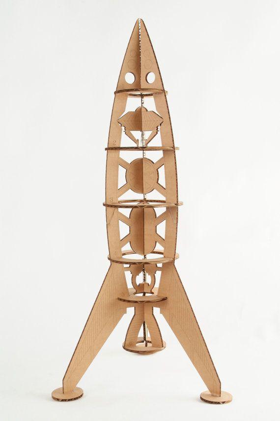Rocket Ship Model Kit Man Cave Decor Cardboard Diy 22 5 Tall