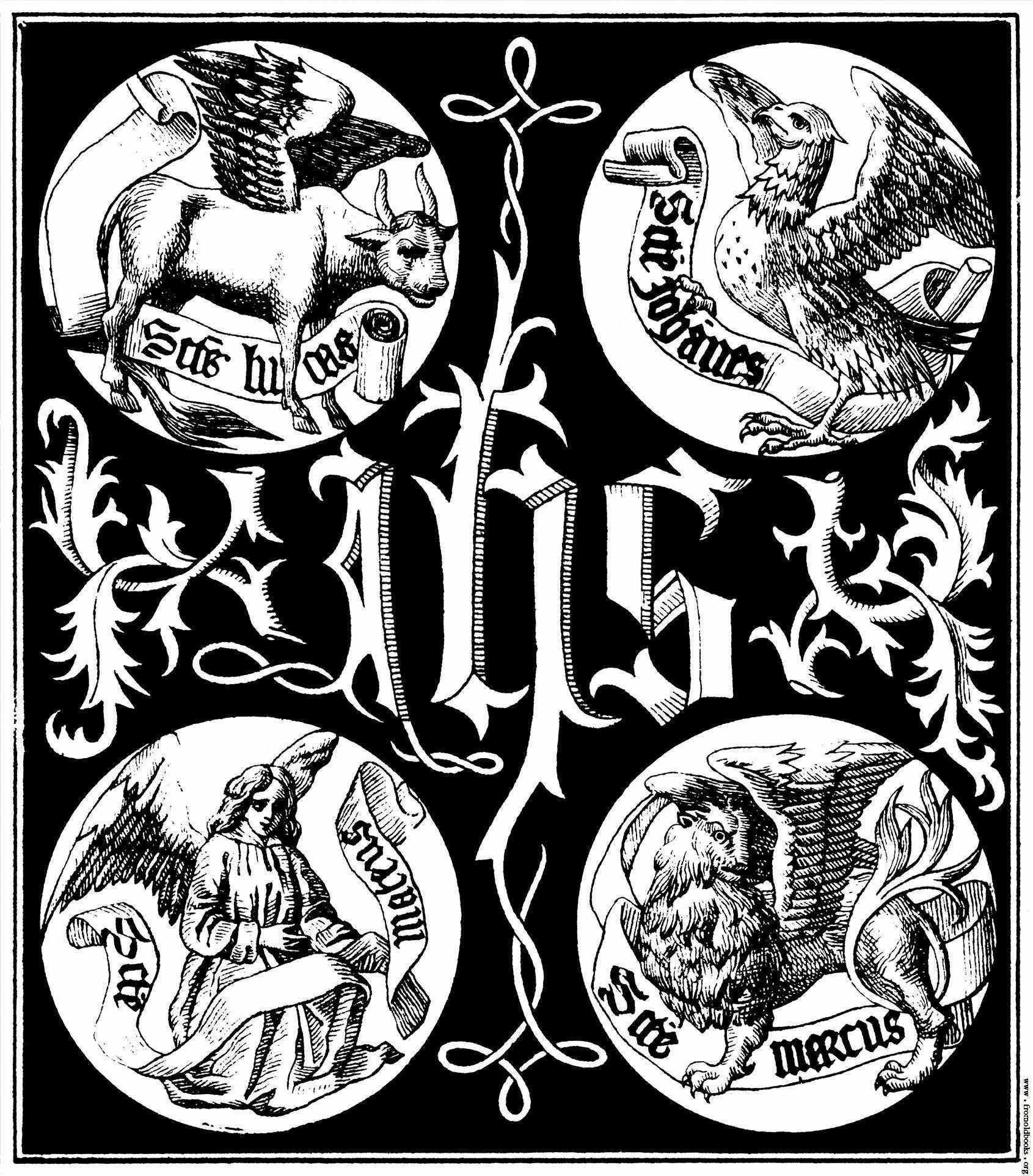 Sacred monogram showing the ihs christogram and the 4 evangelists christian art biocorpaavc