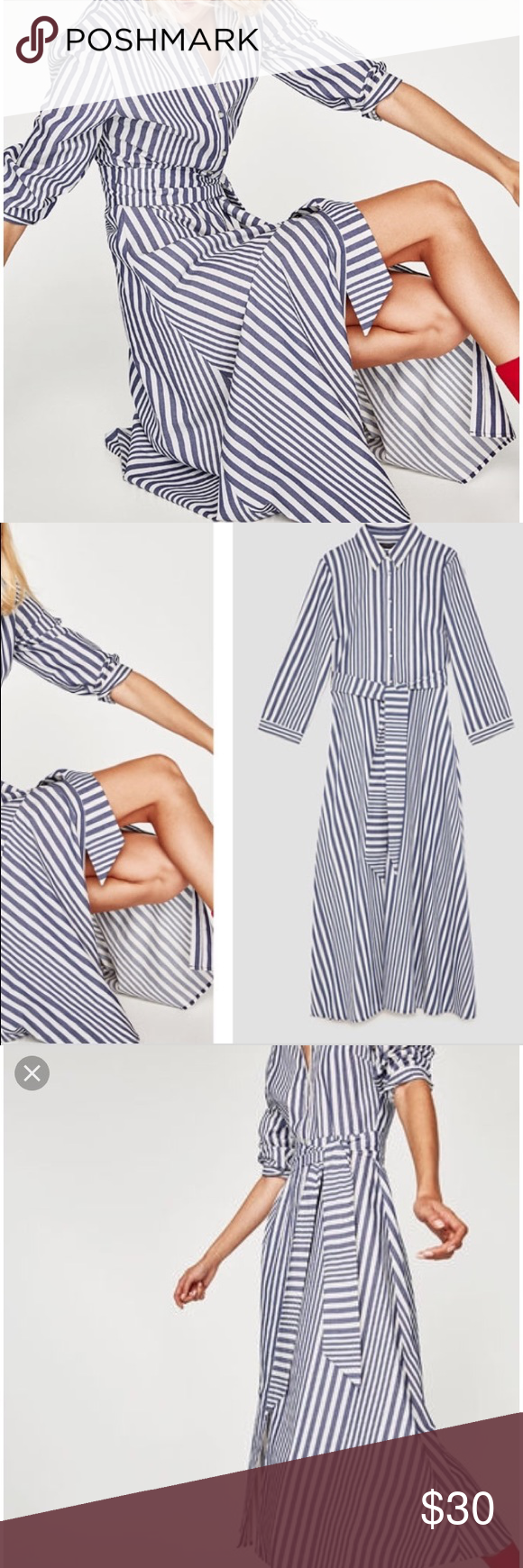 b3b0de13 Zara Blue White Striped Shirt Dress Long Sleeve M Zara Woman Blue and white  vertical striped
