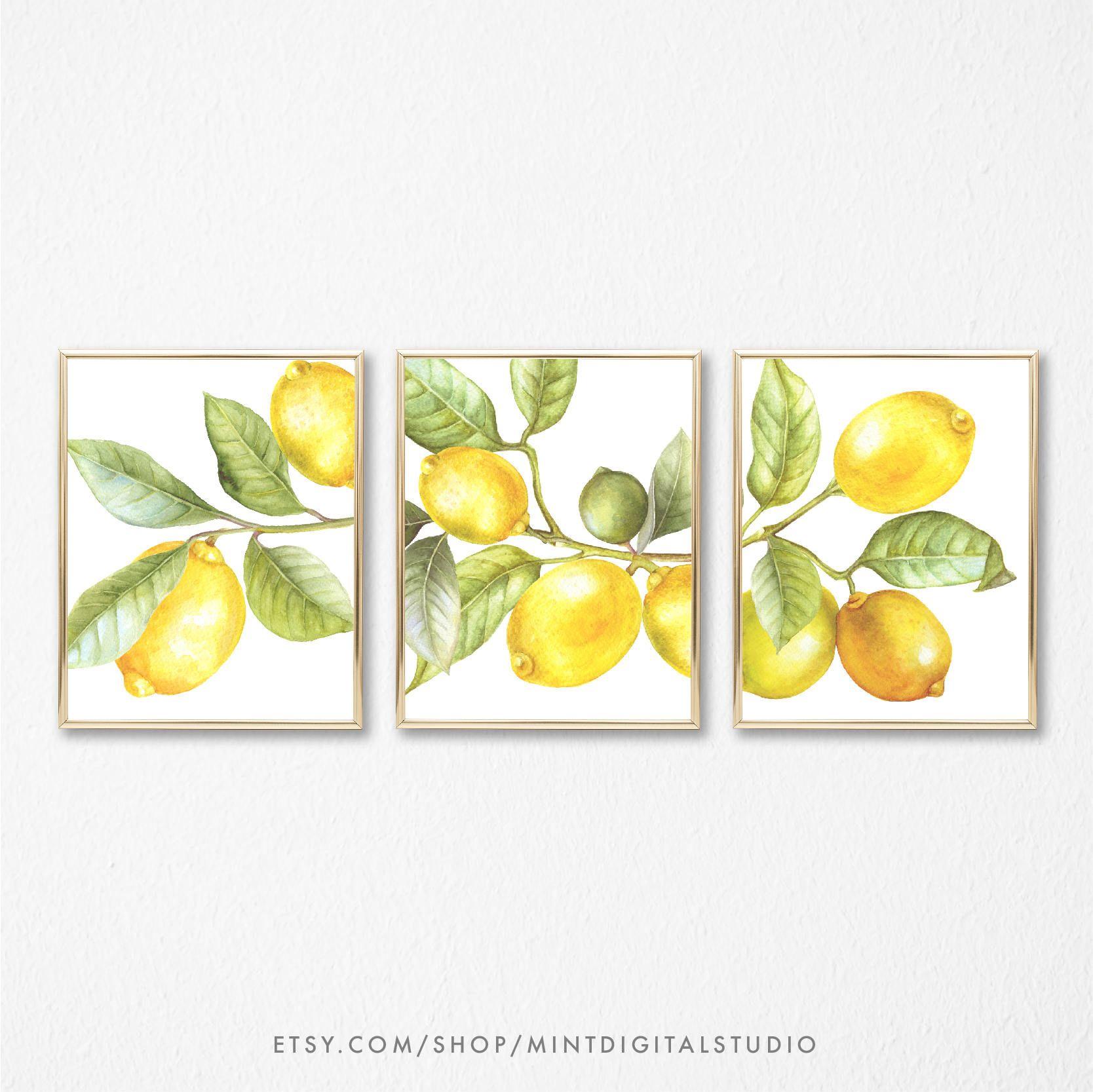 Watercolor Lemon Wall Art, Set of 3 Yellow Lemon Print, Kitchen ...