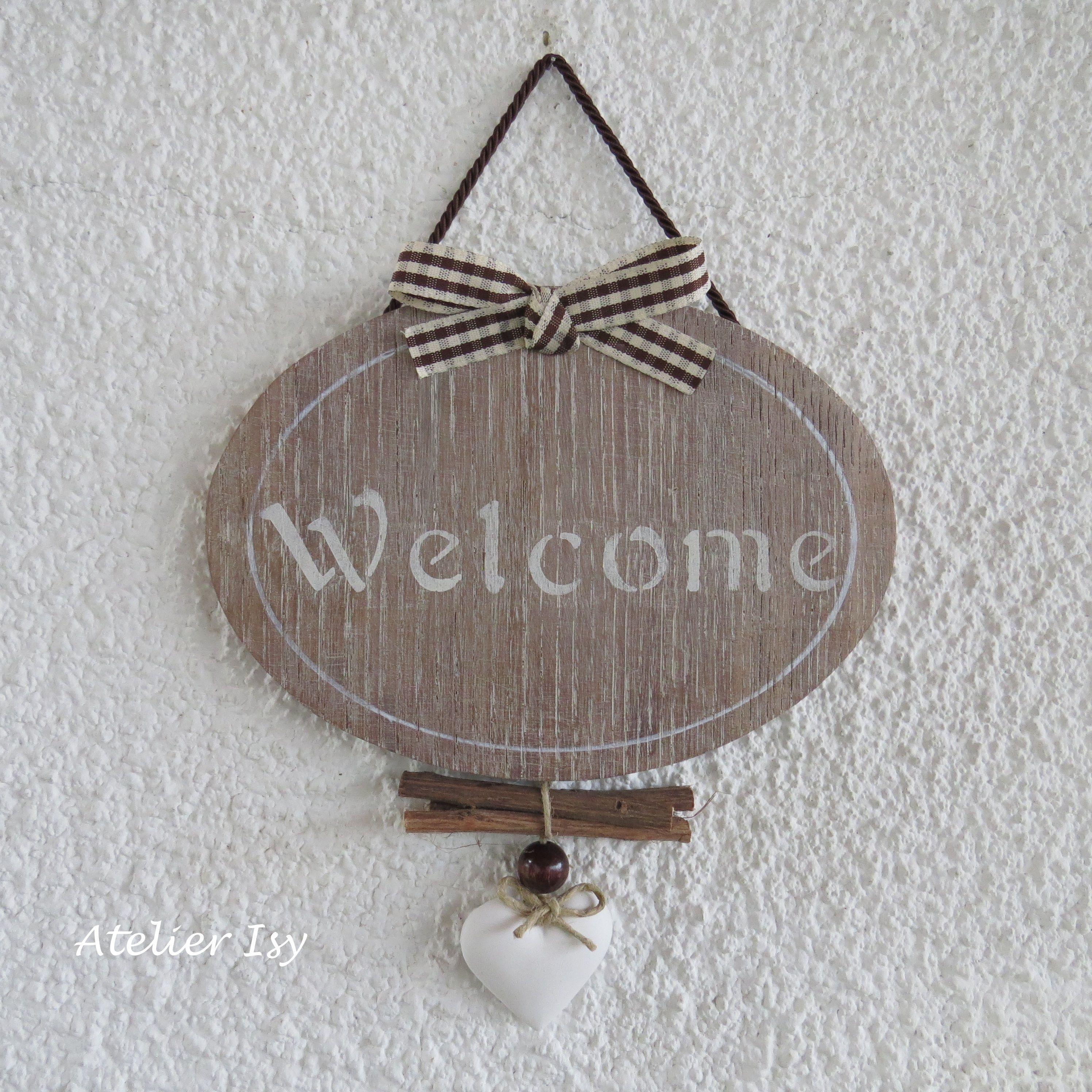 Door sign welcome targa per porta plaque de porte casa pinterest legno porte e fai da te - Porte fai da te legno ...