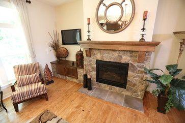 Stone Fireplace    #housedecor #hardwoodfloors #livingroom