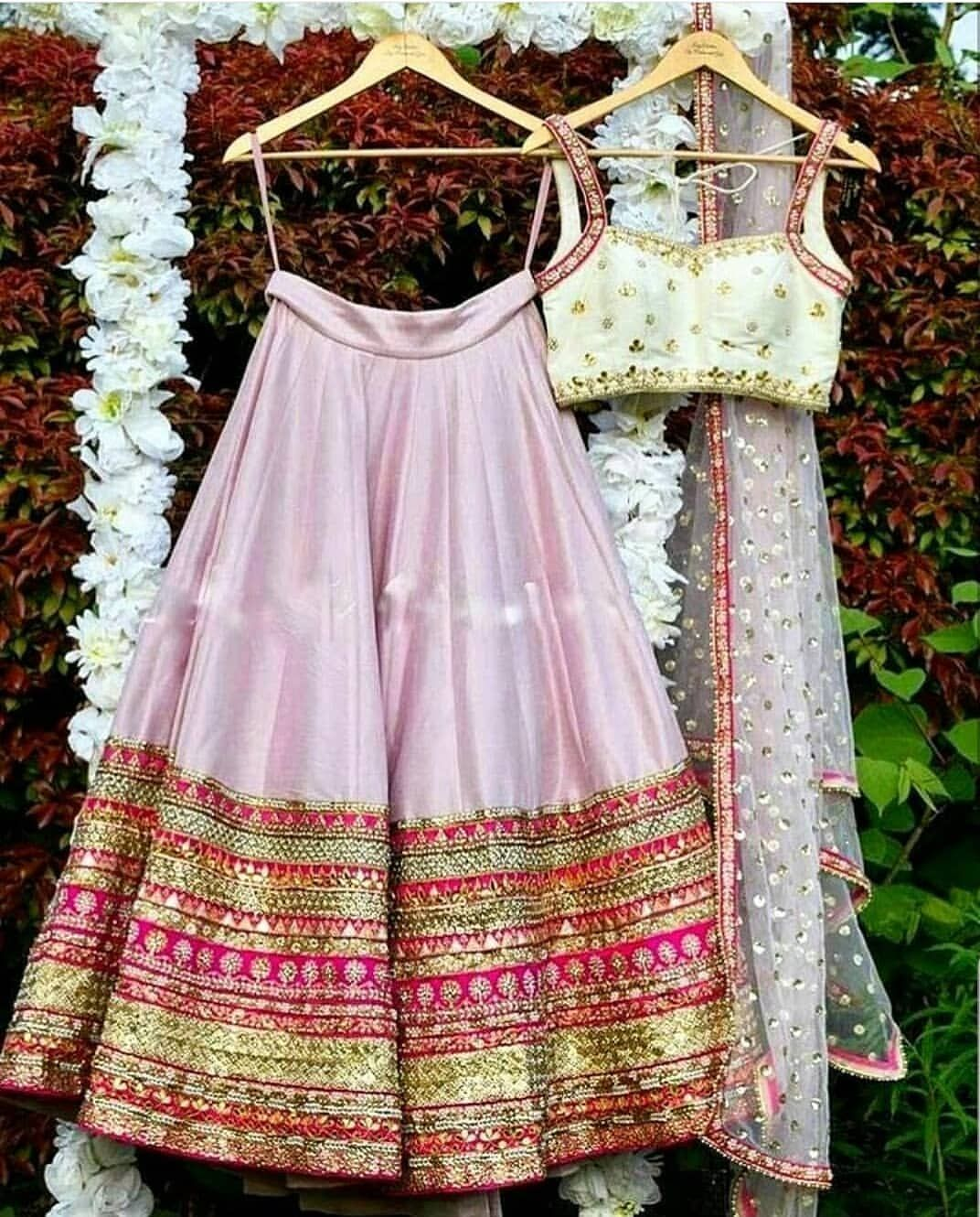 bd487323b7 Beautiful lehenga crafted with pearl and sequin embroidery on top with pink  lehenga with beautiful borders