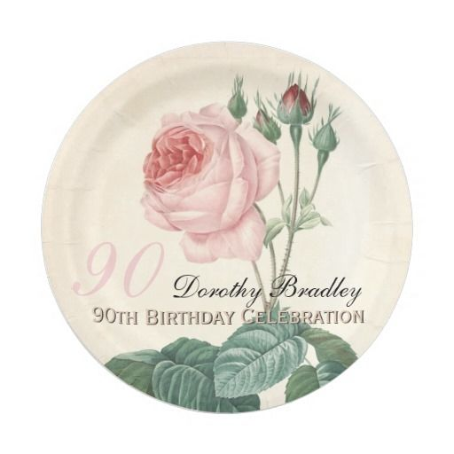 Vintage Rose 90th Birthday Celebration Paper Plate 7 Inch Paper ...