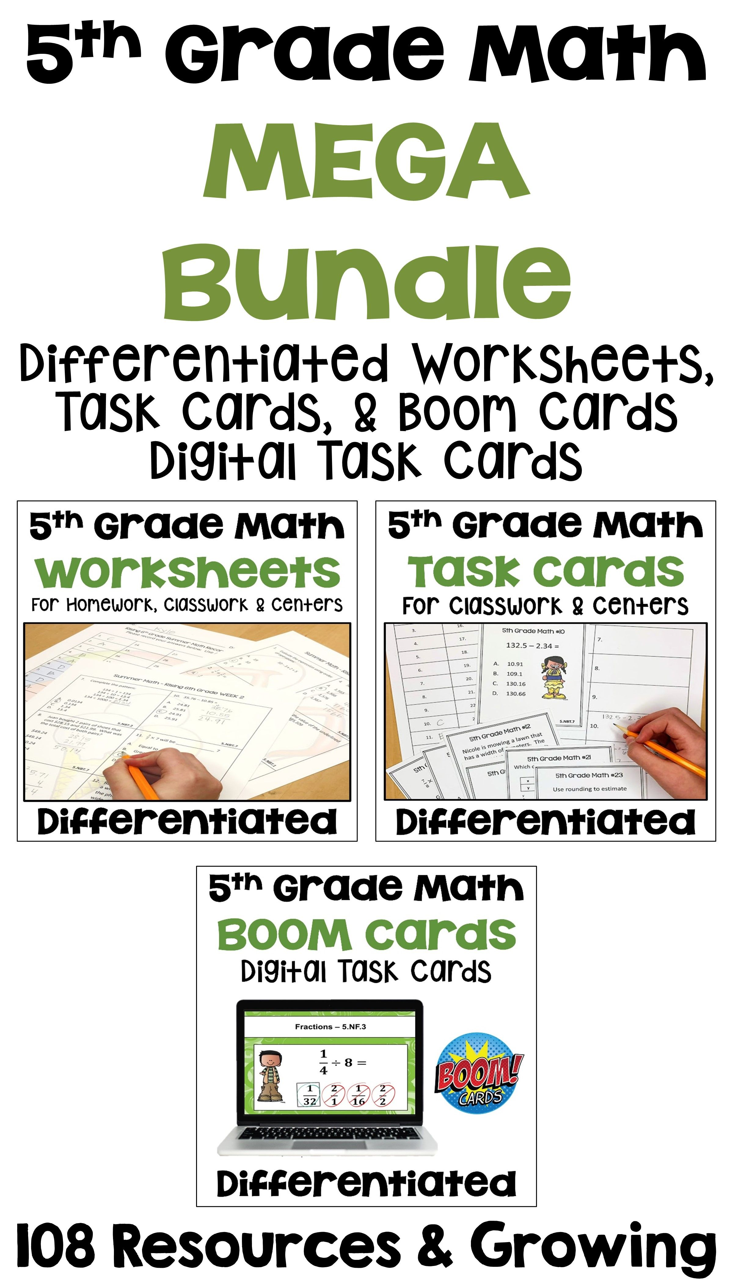 5th Grade Math Differentiated Bundle Of Worksheets Task
