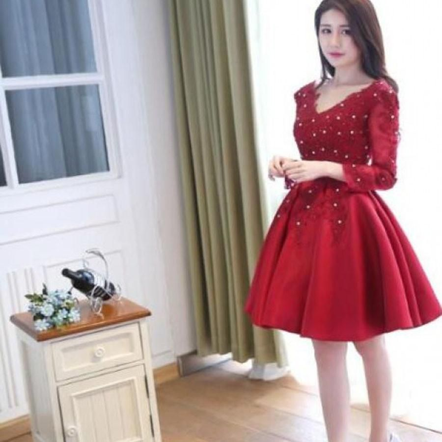 Long sleeve red stain vneck homecoming prom dresses sf in