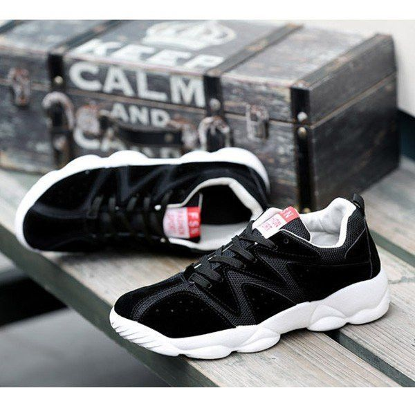 Men Color Match Breathable Chic Trend Csual Lace Up Sport Shoes