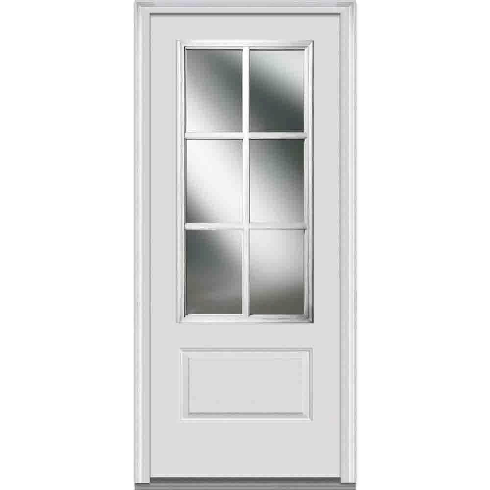 Simulated Divided Lite Clear Gl 3 4 1 Panel Primed White Fibergl Smooth Prehung Front Door