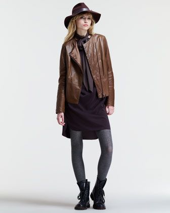 Leather Quilted-Lapel Jacket, Silk Sack Dress & Silk Neck Sash by Brunello Cucinelli at Bergdorf Goodman.