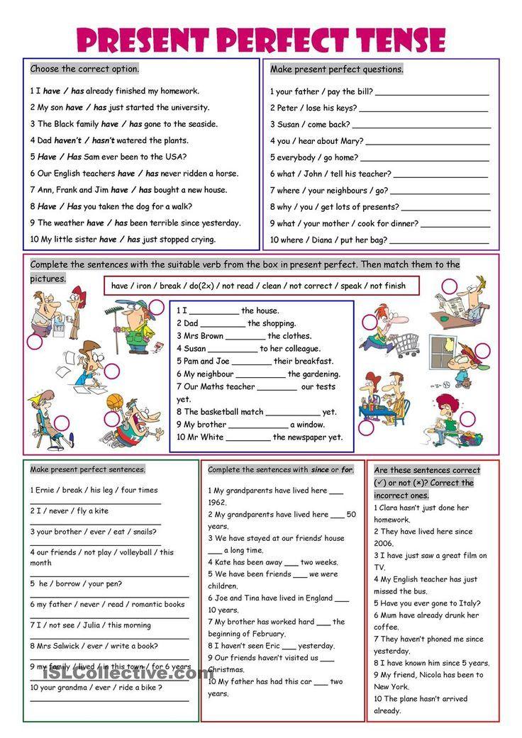 Present Perfect Tense | Lições de gramática, Exercícios de ...