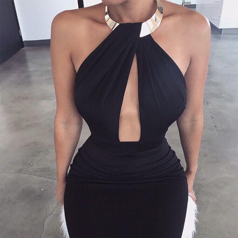 Sexy Halter Cutout Open Back Bodycon Dress  53081a750