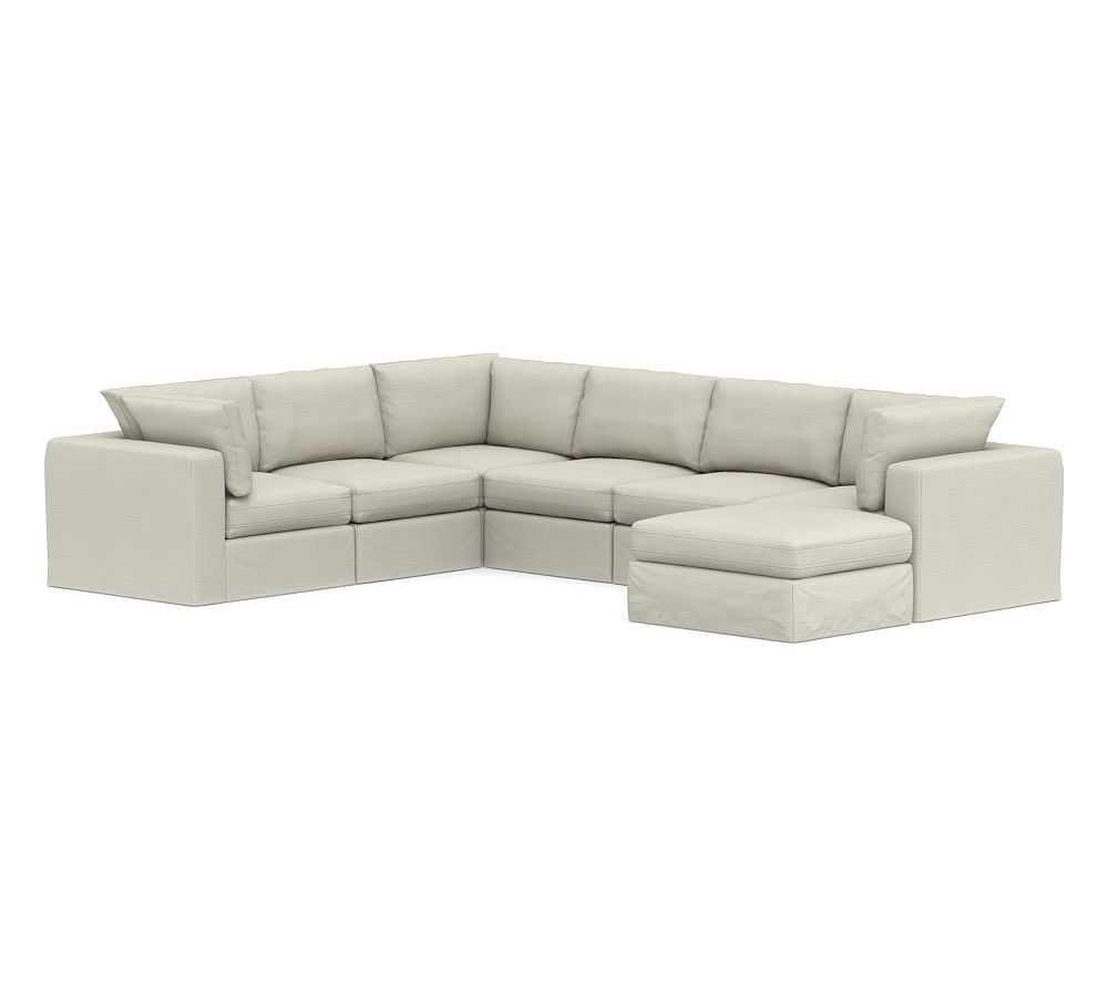 PB Air Square Arm Slipcovered 7-Piece Reversible Sectional ...