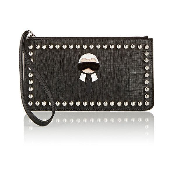 Fendi Karlito Pouch ($600) ❤ liked on Polyvore featuring bags, handbags, clutches, black, fendi, black purse, flat pouch, studded handbags and pouch purse