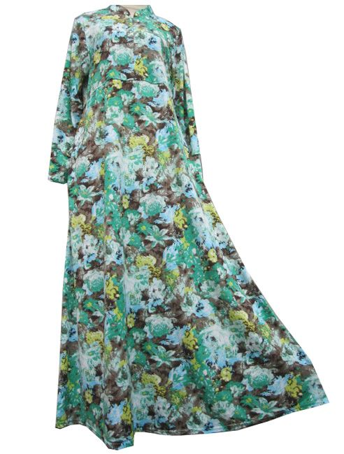 Gamis Umbrella Bunga Hijau Resleting Umb4113 Baju Gamis Terbaru Bahan Sifon Spandek Bahan Jersey Model Baju Gamis Jersey Korea Murah Model Baj Model Muslimah