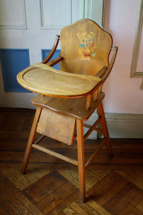 Vintage wooden high chair with tray, it looks much sturdier than the ones  you can get now a days. - Vintage Wooden High Chair With Tray, It Looks Much Sturdier Than The