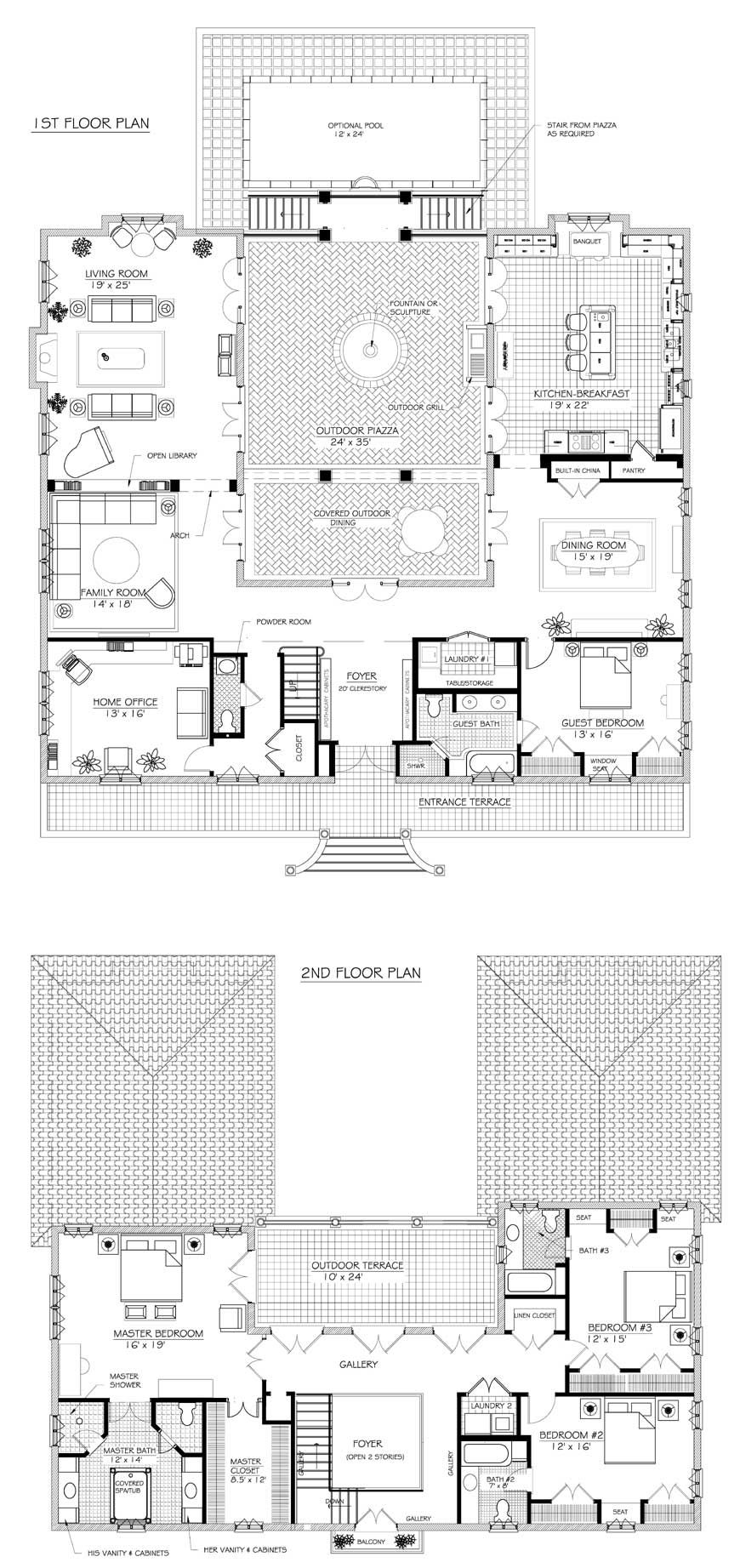 French house plans on pinterest u shaped houses for U shaped house plans with courtyard pool