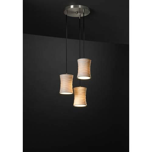 Features a Brushed Nickel finish paired with porcelain hourglass shades decorated with an oval pattern. - Each shade includes 8 feet of black cord for adjustable drops. Justice Design Group - POR-8818-60-OVAL-NCKL | Justice Design Group POR-8818-60-OVAL-NCKL Limoges Brushed Nickel Ovals Three-Light Cluster Pendant in Brushed Nickel/Ovals Glass | Bellacor
